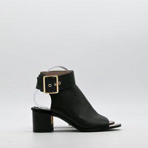 UTERQUE Black Open Toe Sandals Ankle Strap